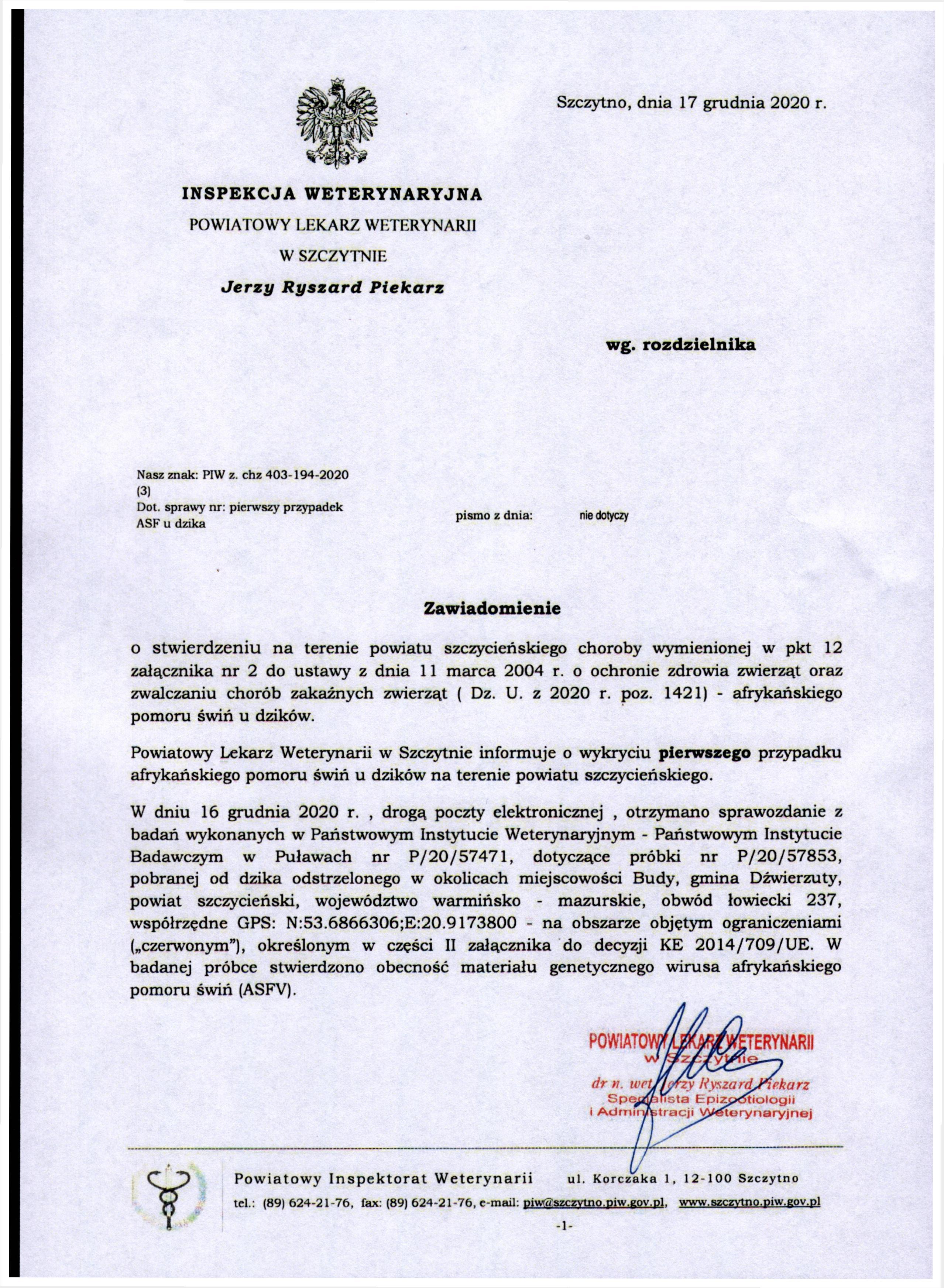 Informacja na temat pierwszego przypadku afrykańskiego pomoru świń u dzików na terenie powiatu szczycieńskiego